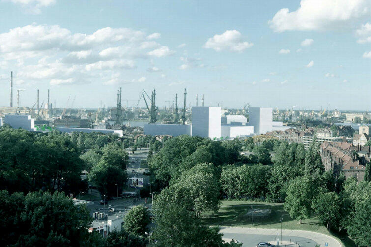 Tak zmieni się widok z Góry Gradowej po realizacji inwestycji - białe elementy to planowane budynki Młodego Miasta