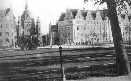 Synagoga Wielka w Gdańsku - widok od strony dzisiejszego Forum Gdańsk