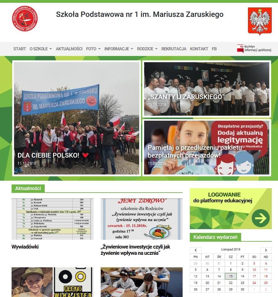 Nowa strona startowa Szkoły Podstawowej nr 1 im. Mariusza Zaruskiego w Gdańsku