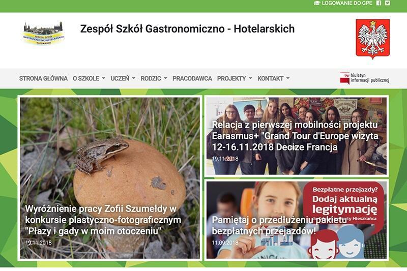 Tak wygląda, po zmianie, strona Zespołu Szkół Gastronomiczno-Hotelarskich w Gdańsku