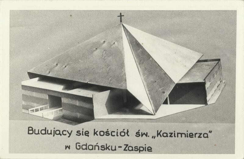 Cegiełka na budowę kościoła św. Kazimierza na Zaspie z projektem świątyni