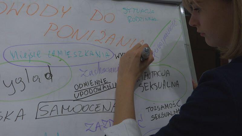 W trakcie warsztatów uczniowie wypisali na tablicy powody przez które ludzie zdolni są poniżać innych. Oto niektóre z nich: wygląd, niska samoocena, pochodzenie, tożsamość seksualna...
