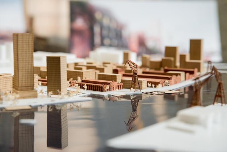 Fragment makiety obrazującej koncepcję zagospodarowania dawnej Stoczni Cesarskiej, którą w marcu 2018 r. przedstawił właściciel terenu - Stocznia Cesarska Developement