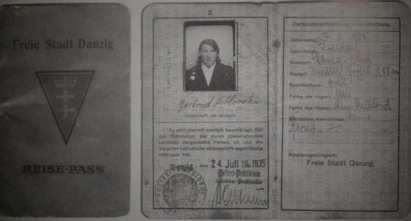 Paszport gdański Gertrudy Jabłońskiej wydany 24 czerwca 1935