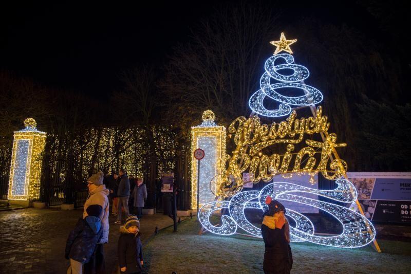 Iluminacja przy wejściu do Parku Oliwskiego