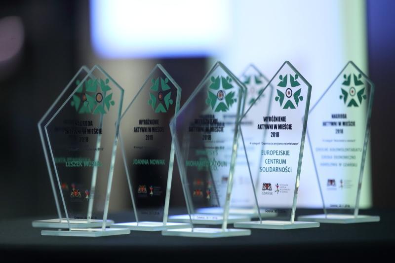 Statuetki nagrody `Aktywni w mieście 2018`