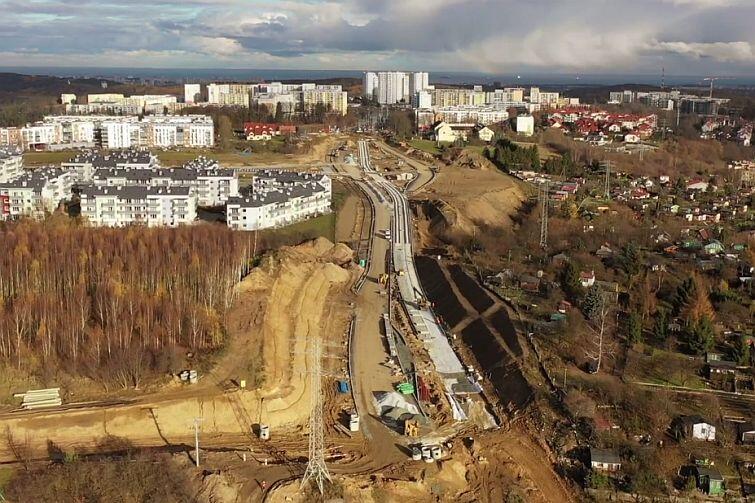 Budowa ul. Nowej Bulońskiej - widok od strony Jasienia