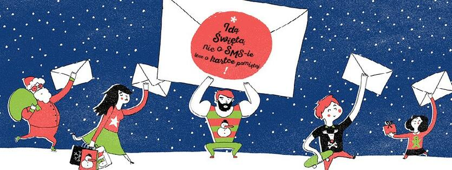 Jedna z wersji kartki z hasłem: Idą święta, nie o smsie lecz o kartce pamiętaj!