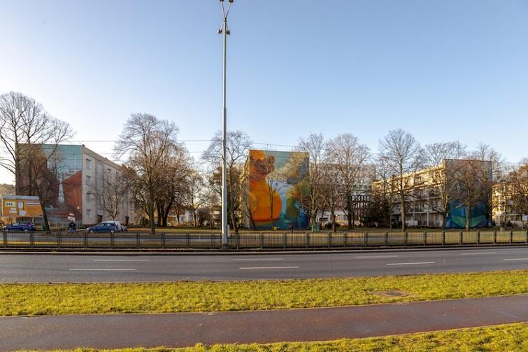 'Port Wrzeszcz' to cztery sąsiednie murale na blokach przy ul. Grunwaldzkiej