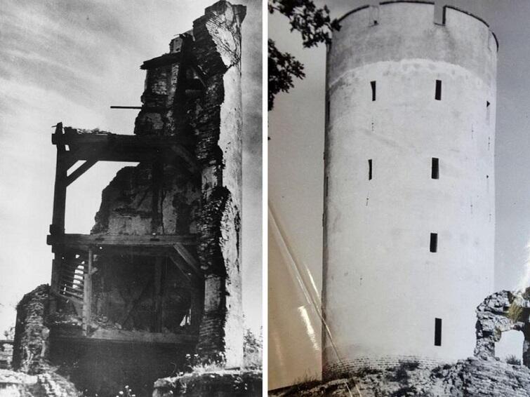 Wieża Twierdzy - po katastrofie w latach 50.tych XX w. i po odbudowie, po roku1962
