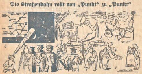 """Dowcip rysunkowy w dzienniku """"Danziger Volksstimme"""" jako reakcja na zamieszanie w tramwajach po wprowadzeniu podatku komunikacyjnego"""