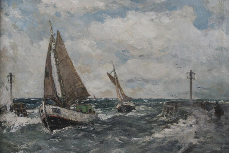 Ernst Kolbe - Kuter rybacki płynący z pełną prędkością (Ustka). Olej na płótnie, sygnowany, niedatowany