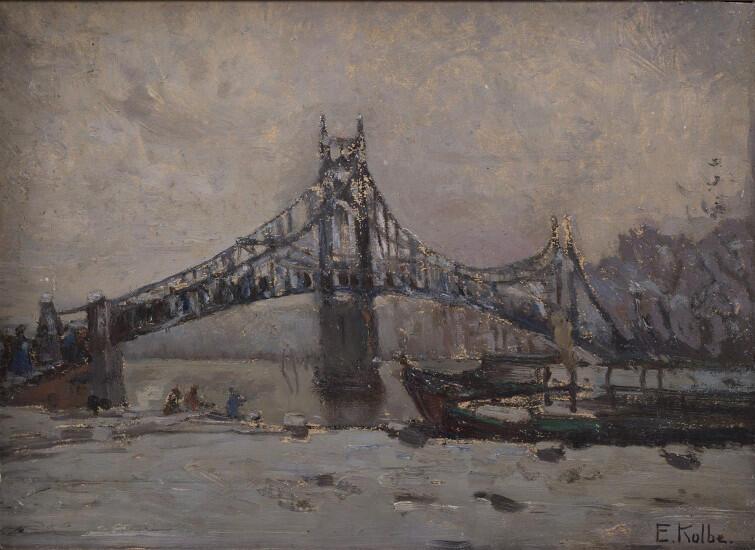 Krajobraz zimowy z mostem. Olej na płótnie, sygnowany, niedatowany