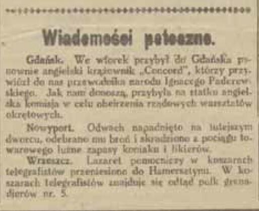 """W """"Gazecie Gdańskiej"""" krótka informacja o przybyciu Ignacego Paderewskiego do Gdańska została opublikowana 3 I 1919"""
