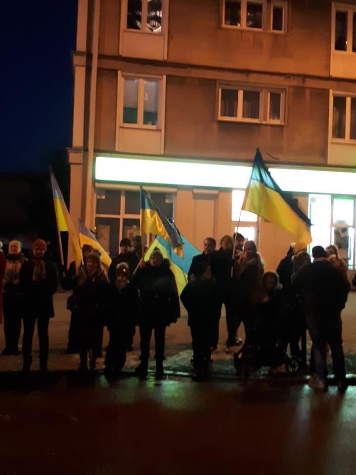 Ukraińskie flagi na trasie konduktu ulicami Gdańska, 18 stycznia 2019 r.