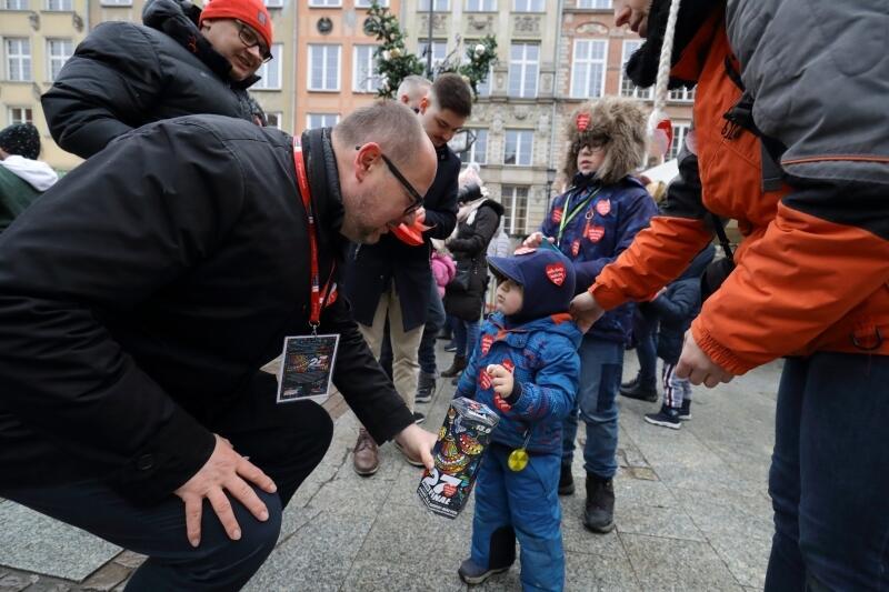 Prezydent Gdańska Paweł Adamowicz podczas ostatniej zbiórki WOŚP