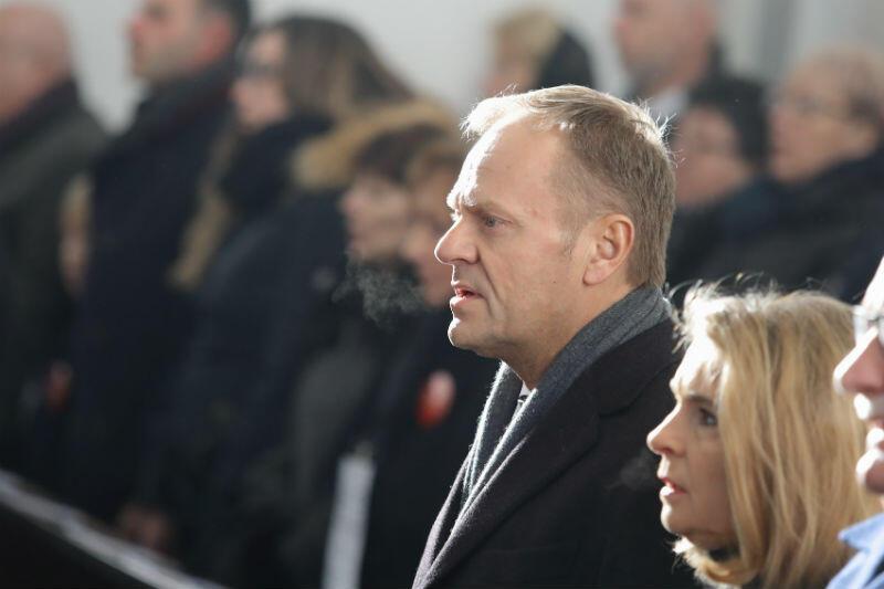 Donald Tusk podczas mszy pogrzebowej prezydenta Gdańska Pawła Adamowicza w Bazylice Mariackie
