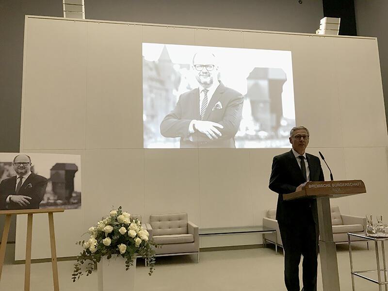 W Bremie prezydenta Adamowicza wspominał m.in. Burmistrz Bremy, Carsten Sieling