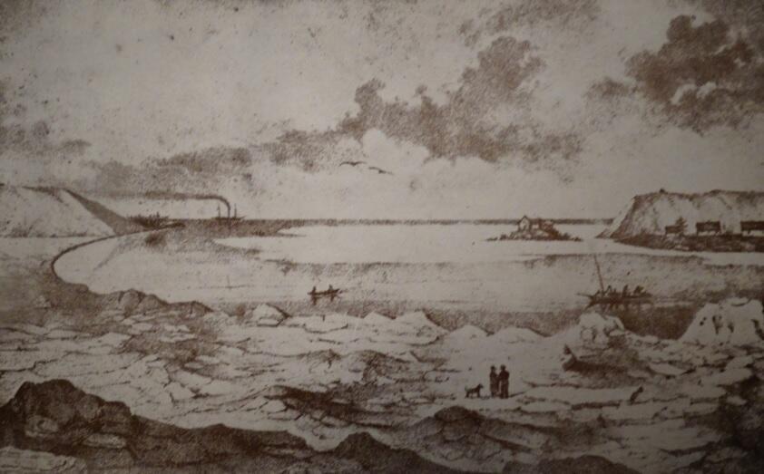 Przełom Wisły w 1840 roku koło gdańskich Górek, litografia wg rysunku J. Gottheila