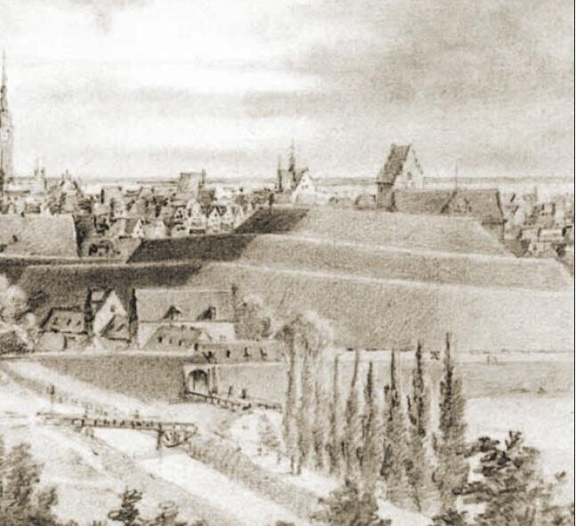 """Z wysokości wzgórza widziało się Gdańsk, że """"leży pod naszymi nogami, tak że można wygodnie liczyć dachy""""; fragment rysunku Juliusa Gottheila"""
