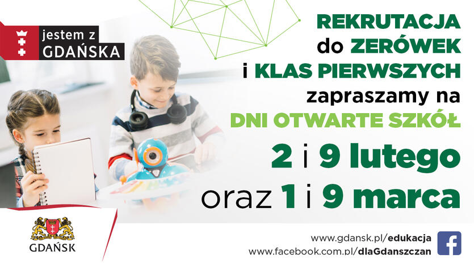 Zachęcamy rodziców i dzieci do udziału w Dniach Otwartych w gdańskich szkołach w lutym i marcu.
