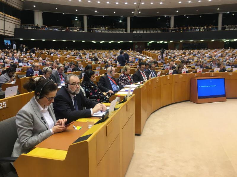 Aleksandra Dulkiewicz, pełniąca obowiązki prezydenta Gdańska oraz Piotr Adamowicz, brat ś.p. prezydenta Gdańska podczas sesji plenarnej Europejskiego Komitetu Regionów