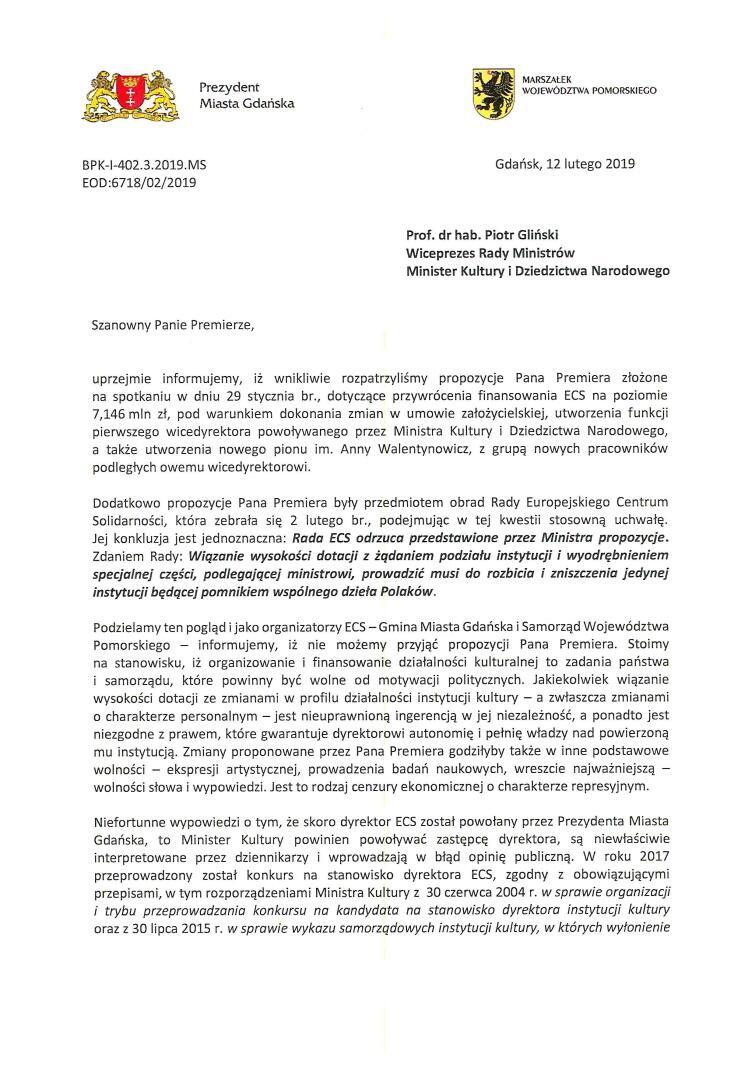 List do ministra Glińskiego_Strona_1