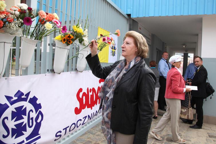 Hanna Suchocka podczas uroczystego otwarcia Europejskiego Centrum Solidarności w Gdańsku, 30 sierpnia 2014 r.