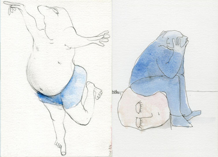 Nick Wadley - pierwszy od lewej rysunek pochodzi z serii Big man . Drugi - z cyklu  The way it is