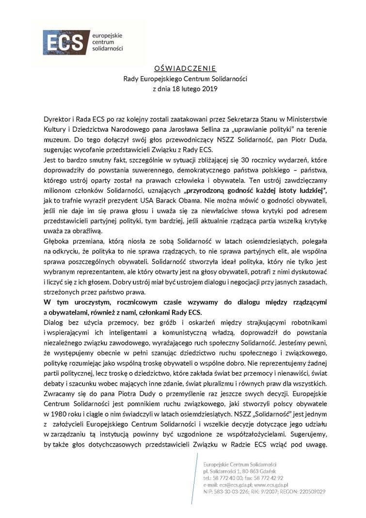 Oświadczenie Rady ECS 18 02 2019_Strona_1