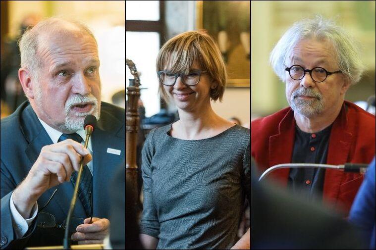 Goście programu Wszystkie Strony Miasta - (od lewej) Romuald Plewa, Anna Golędzinowska i Andrzej Stelmasiewicz.
