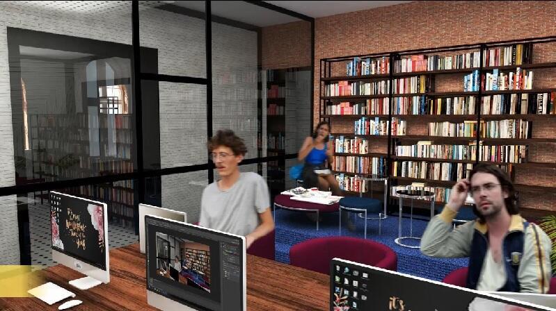 Tzw. miejsce do cichej pracy w nowej filii Wojewódzkiej i Miejskiej Biblioteki Publicznej, której siedzibą będzie ratusz na Oruni