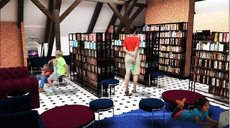 Część z przestrzenią otwartą w projektowanej bibliotece