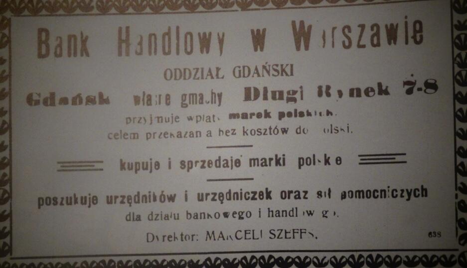 """W 1920 roku ogłoszenia Oddziału Gdańskiego Banku Handlowego ukazywały się głównie w """"Gazecie Gdańskiej"""", ale również w """"Danziger Zeitung"""""""