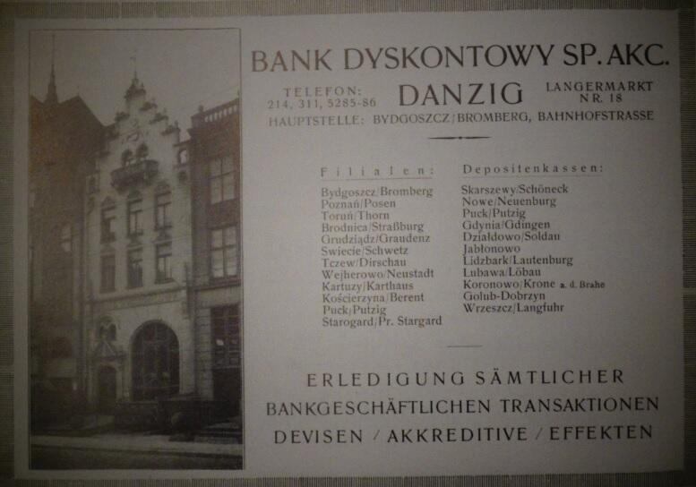 Bank Dyskontowy S.A. mieścił się przy Długim Targu 18