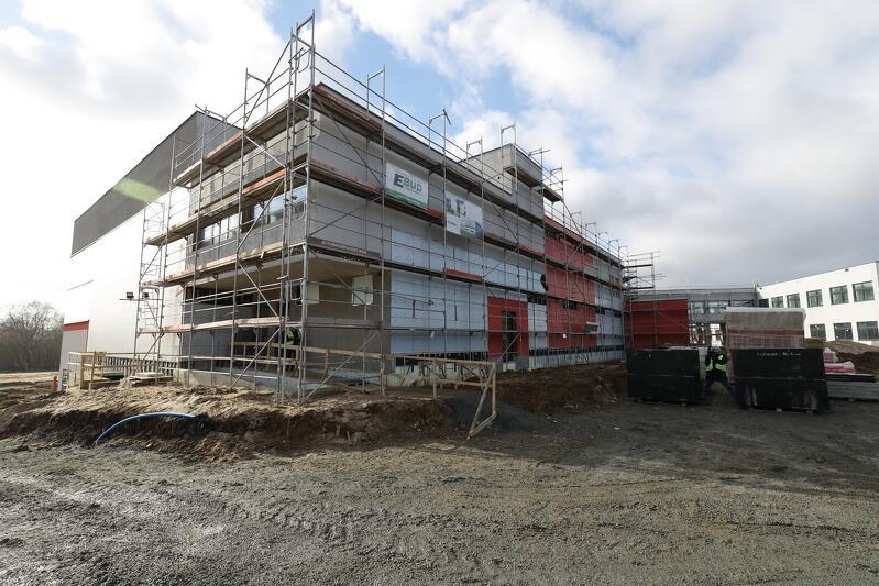 Budowana nowej Szkoły Podstawowej nr 6 w Gdańsku, stan z połowy lutego 2019 r.