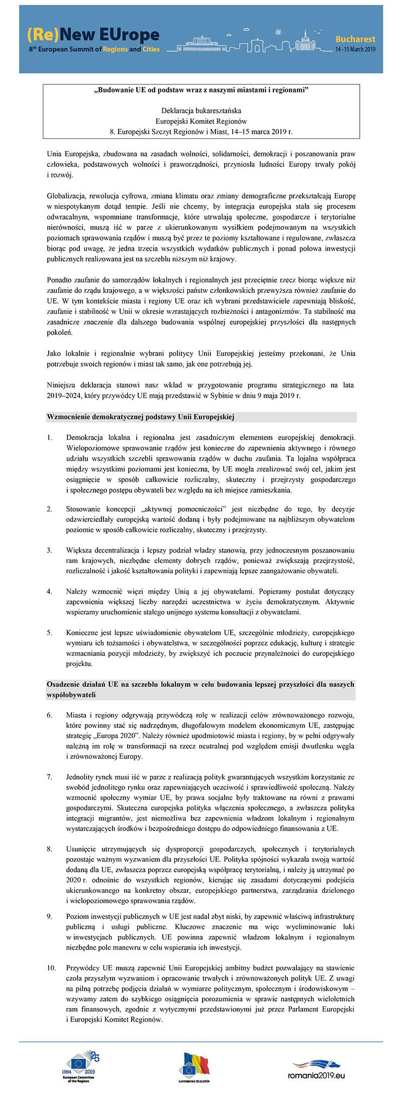 Deklaracja Bukaresztańska