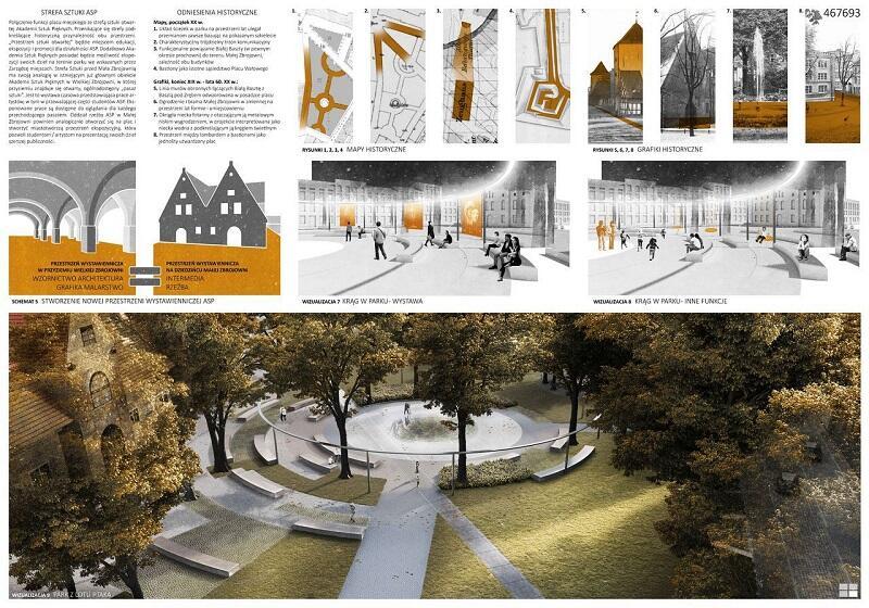 Świetlna pergola zaproponowana przez laureatów I nagrody, po zmierzchu podkreśli piękno zieleni parkowej placu Wałowego, natomiast w ciągu dnia będzie stanowić jeden z elementów małej architektury