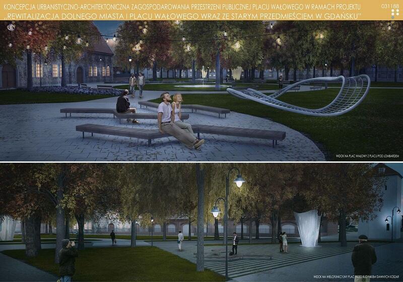 Projekt Garden Concept Architekci Krajobrazu (II miejsce) w wersji po zmierzchu