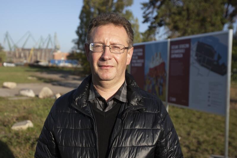 Jarosław Żurawiński - prezes Morskiej Fundacji Historycznej, przewodnik i badacz historii Stoczni Gdańskiej, a niegdyś jej pracownik