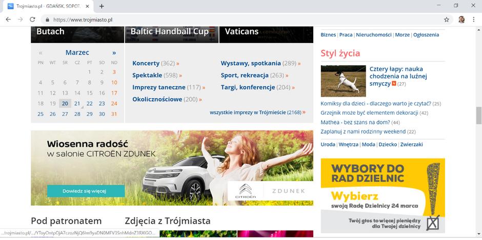Baner promujący niedzielne wybory można znaleźć m.in. na portalu Trojmiasto.pl