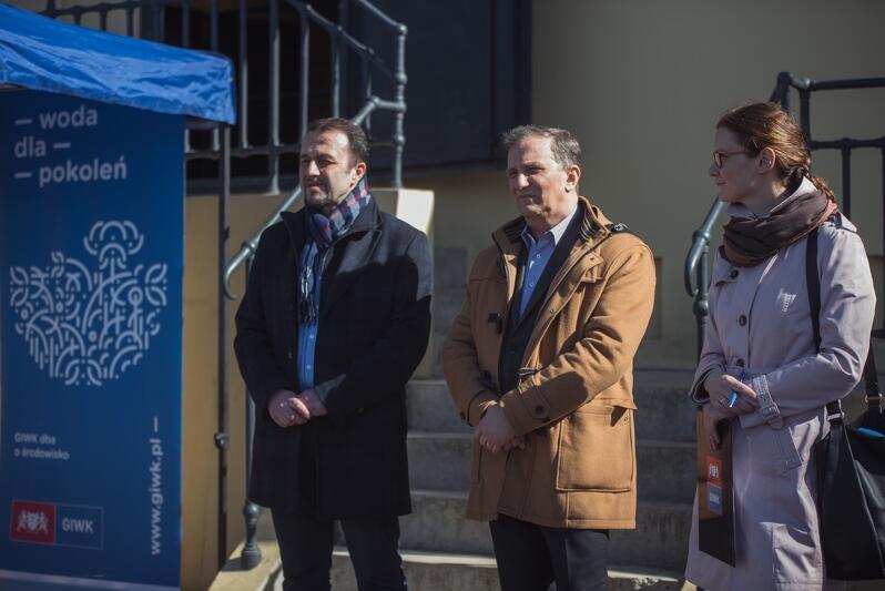 Od lewej: Ryszard Gajewski - prezes Gdańskich Wód, niegdyś dyrektor techniczny odpowiedzialny za realizację wielu inwestycji w ramach Gdańskiego Projektu Wodno-Ściekowego; Jacek Skarbek - prezes GIWK oraz Agnieszka Klugmann - rzecznik prasowa GIWK