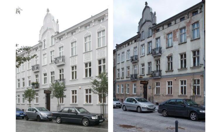 Budynek przy ul. Wajdeloty 18 przed i po modernizacji