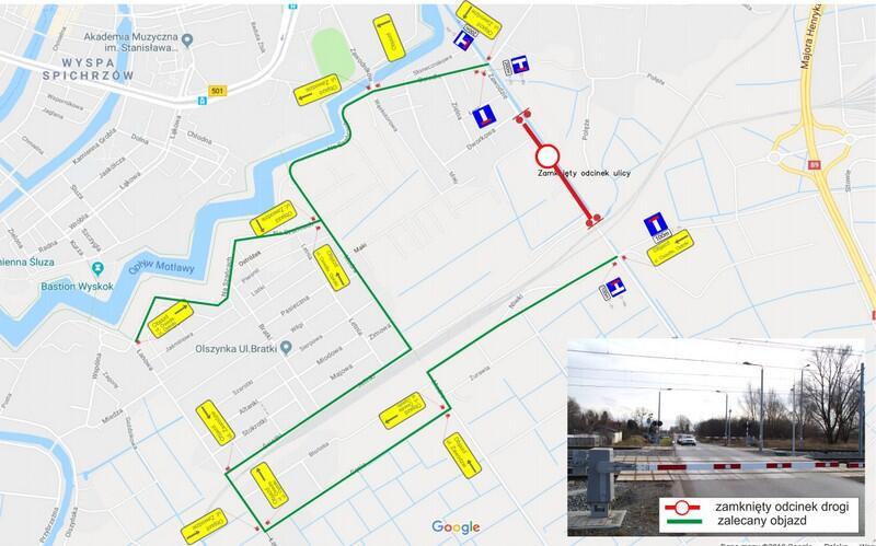 Mapa z zamkniętym fragmentem drogi ul. Zawodzie oraz zalecanym objazdem