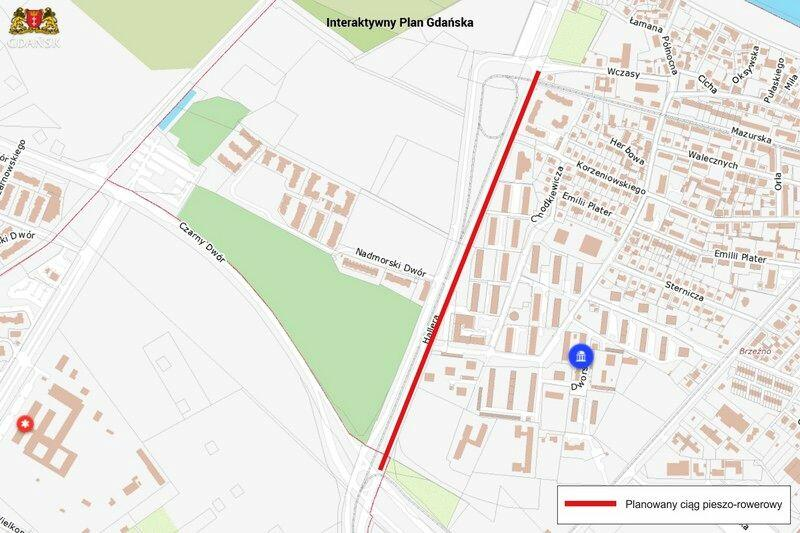 855-metrowy odcinek nowej drogi rowerowej powstaje w Brzeźnie wzdłuż Al. Hallera, po jej wschodniej stronie