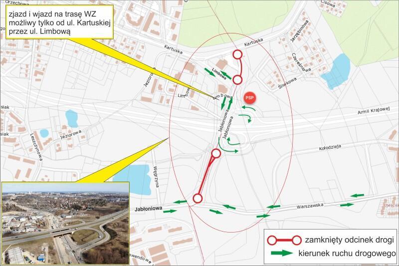 Przez najbliższe dwa miesiące (kwiecień, maj 2019 rok) na skrzyżowaniu ulic Jabłoniowej i Warszawskiej będzie obowiązywała tymczasowa organizacja ruchu
