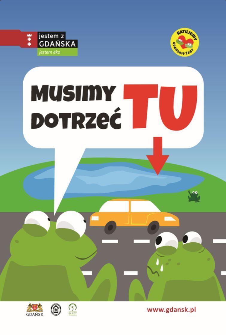 Jeden z plakatów reklamujący akcję pomocy żabom