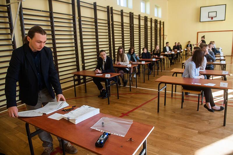 Sala gimnastyczna Gimnazjum nr 29. Część przyrodniczo-matematyczna egzaminu gimnazjalnego, 19 kwietnia 2018 r.