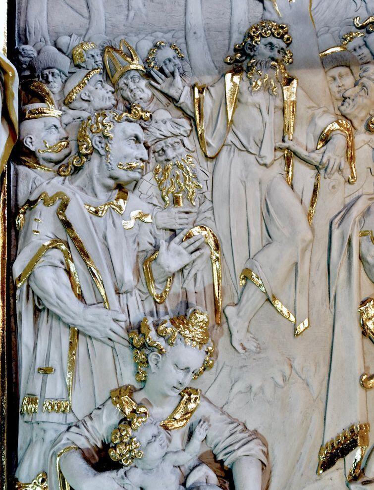 Szczegóły odnowionego ołtarza ukazują kunszt artystyczny jego autora Abrahama van den Blocke