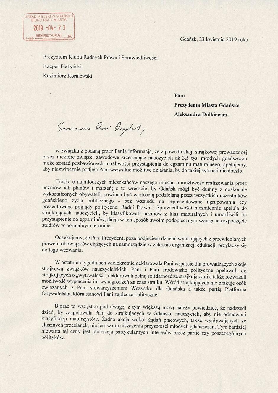 apel do p. A. Dulkiewicz w sprawie klasyfikacji uczniów 1